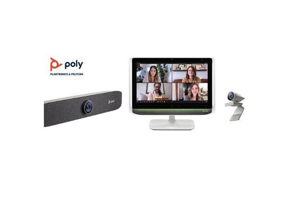 Die Studio P Serie umfasst die Poly Studio P5-Webcam, die Studio P15-Videobar und das Studio P21-Display. (Bild: Poly)